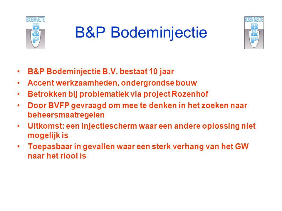 B&P Bodeminjectie B&P Bodeminjectie B.V. bestaat 10 jaar Accent werkzaamheden, ondergrondse bouw Betrokken bij problematiek via project Rozenhof Door
