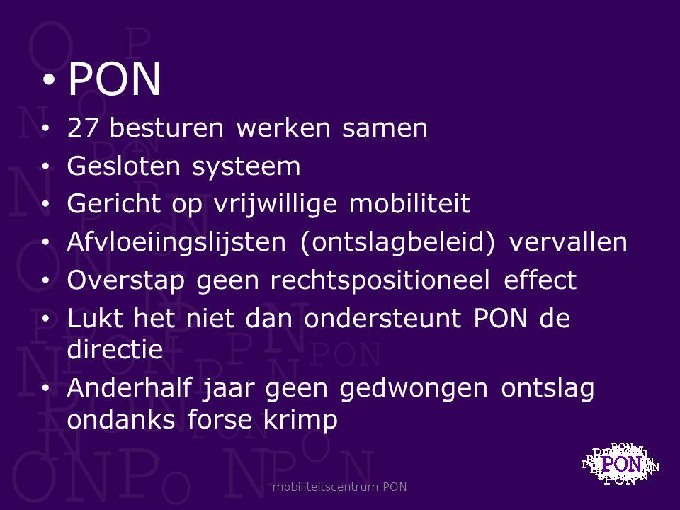 PON 27 besturen werken samen Gesloten systeem Gericht op vrijwillige mobiliteit Afvloeiingslijsten (ontslagbeleid) vervallen Overstap geen rechtsposit