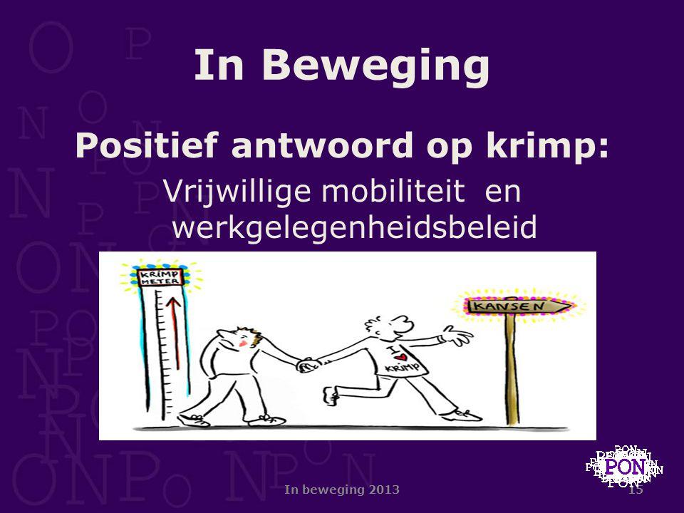 15 In Beweging Positief antwoord op krimp: Vrijwillige mobiliteit en werkgelegenheidsbeleid In beweging 2013