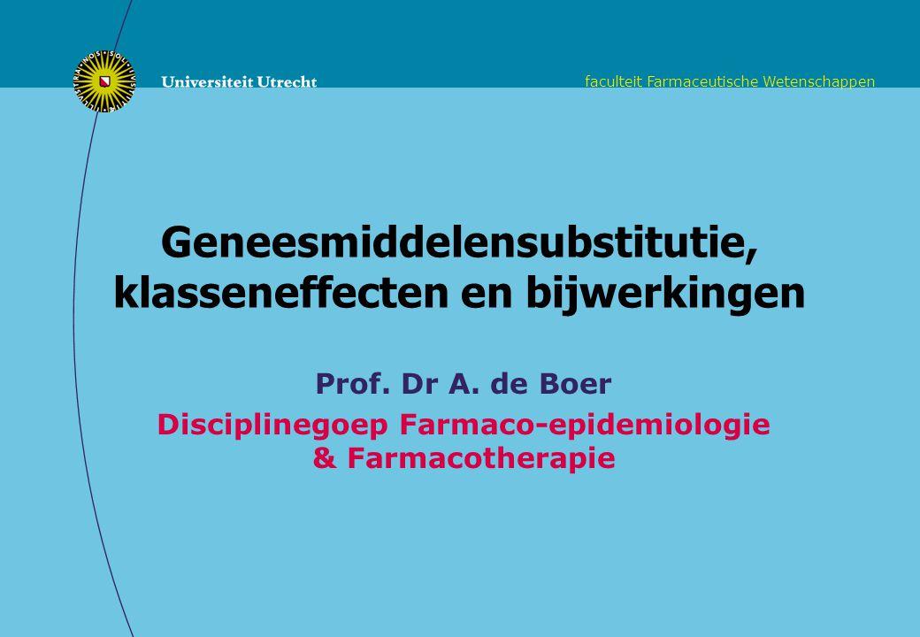 faculteit Farmaceutische Wetenschappen Overzicht Geneesmiddelensubstitutie: gevaar voor bijwerkingen.