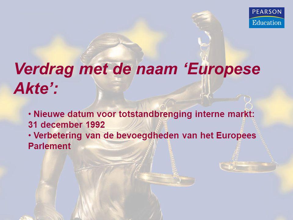 Verdrag van Maastricht: Herziening EEG verdrag: EEG wordt EG en krijgt nieuwe taken Verbetering bevoegdheden van het Europees Parlement Verplichting EG om een Europese economische unie (EMU) tot stand te brengen Instelling van een burgerschap van de Unie Oprichting Europese Unie (EU) EU krijgt intergouvernementele taken (GBVB en SJBZ)