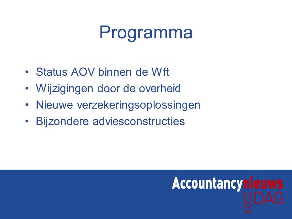 Programma Status AOV binnen de Wft Wijzigingen door de overheid Nieuwe verzekeringsoplossingen Bijzondere adviesconstructies