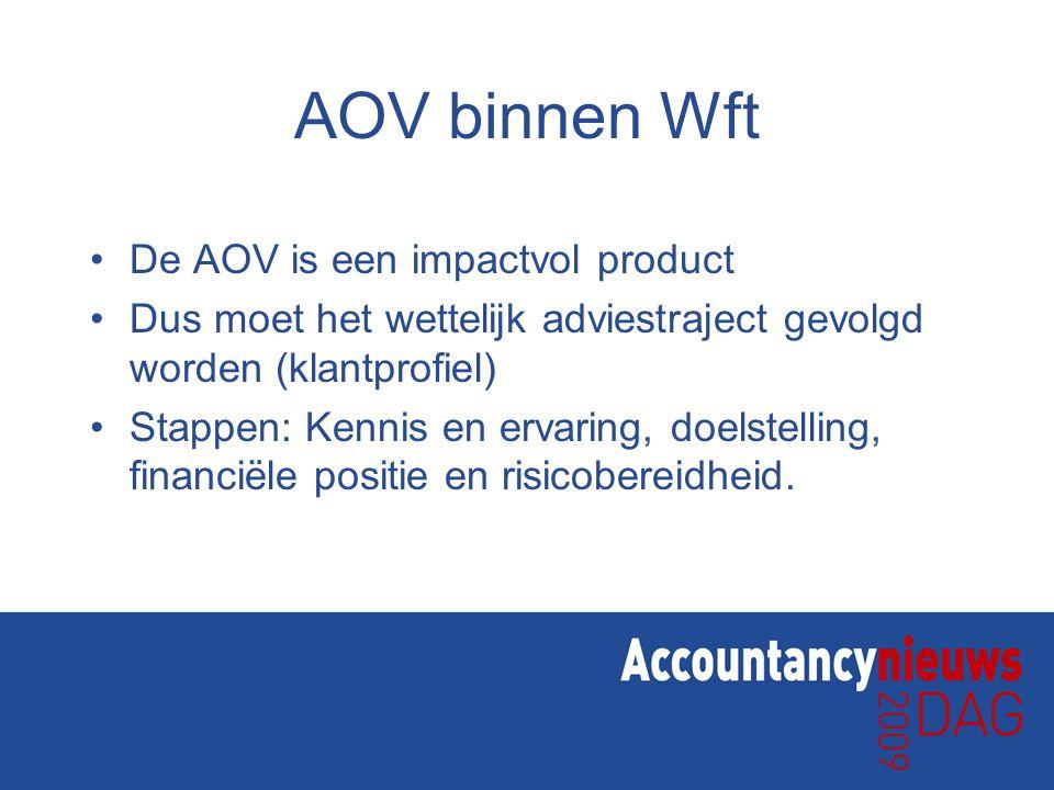 AOV binnen Wft De AOV is een impactvol product Dus moet het wettelijk adviestraject gevolgd worden (klantprofiel) Stappen: Kennis en ervaring, doelste