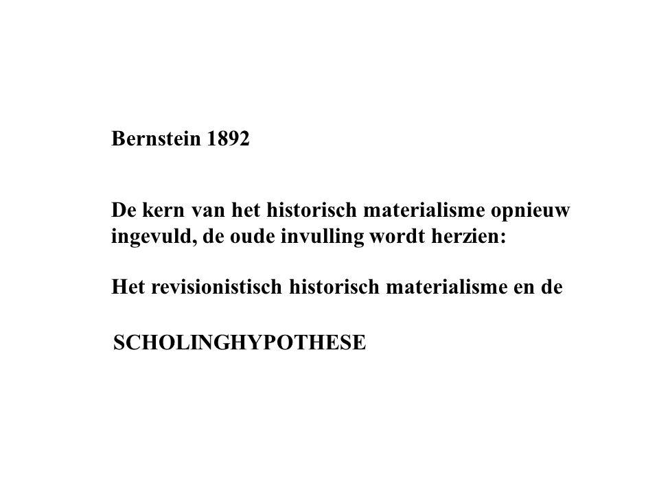 Bernstein 1892 De kern van het historisch materialisme opnieuw ingevuld, de oude invulling wordt herzien: Het revisionistisch historisch materialisme en de SCHOLINGHYPOTHESE
