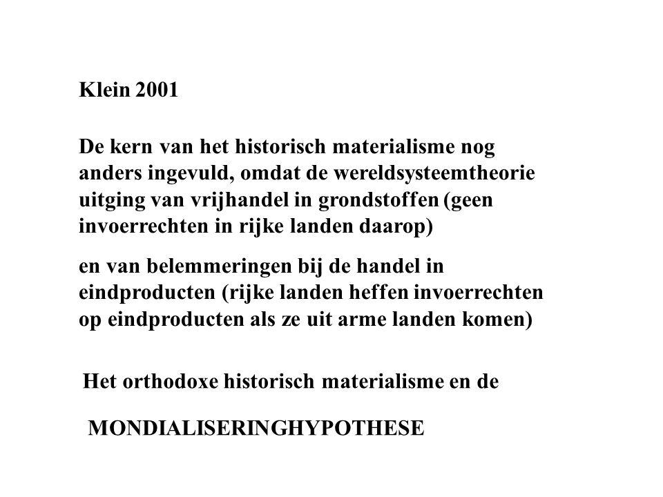 Klein 2001 De kern van het historisch materialisme nog anders ingevuld, omdat de wereldsysteemtheorie uitging van vrijhandel in grondstoffen (geen inv