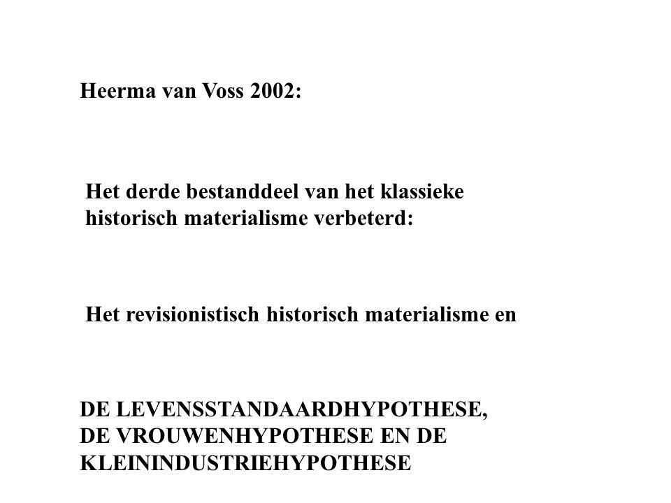 Heerma van Voss 2002: Het derde bestanddeel van het klassieke historisch materialisme verbeterd: Het revisionistisch historisch materialisme en DE LEV