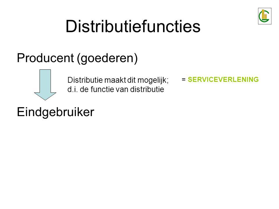 Distributiefuncties Producent (goederen) Eindgebruiker Distributie maakt dit mogelijk; d.i. de functie van distributie = SERVICEVERLENING
