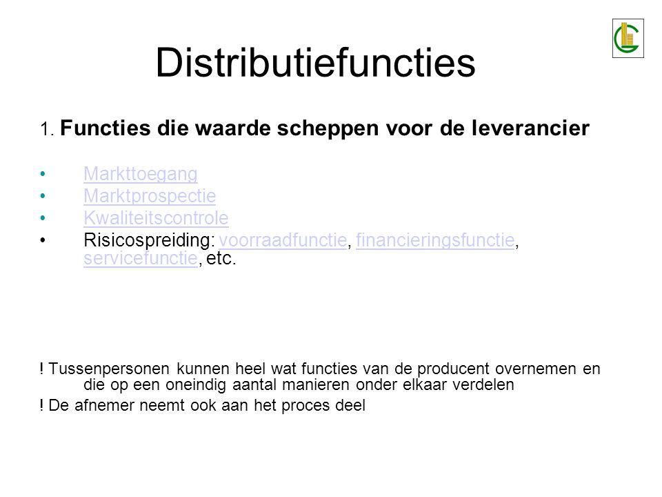 Distributiefuncties 2.Functies die waarde scheppen voor de klant- eindgebruiker a.