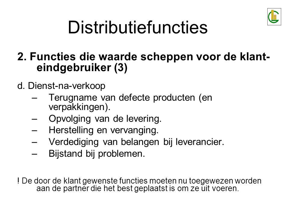 Distributiefuncties 2. Functies die waarde scheppen voor de klant- eindgebruiker (3) d. Dienst-na-verkoop –Terugname van defecte producten (en verpakk