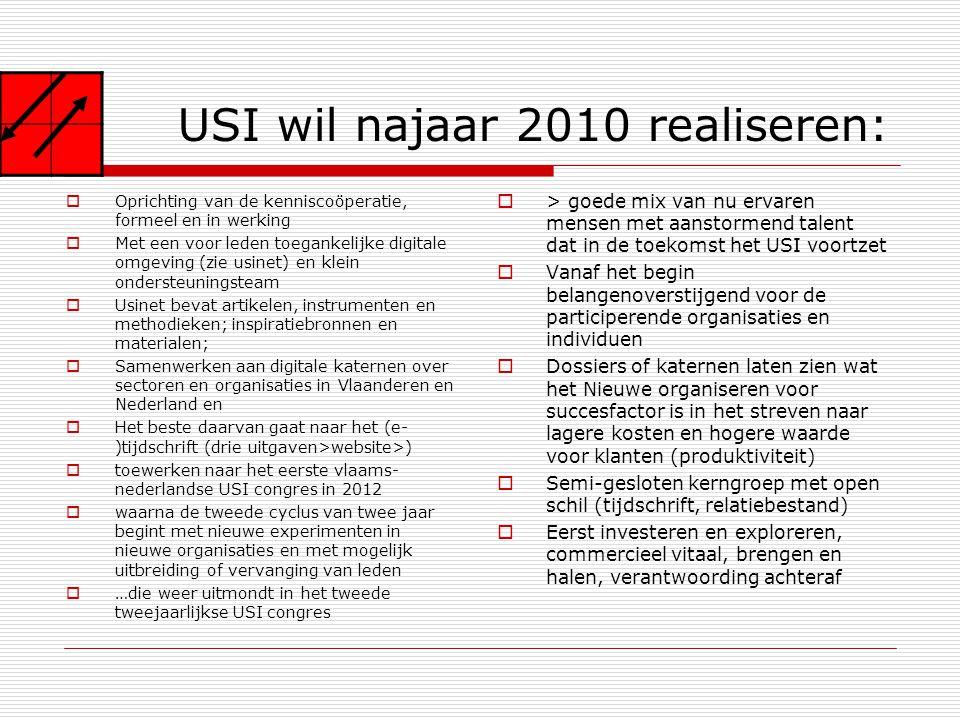 USI wil najaar 2010 realiseren:  Oprichting van de kenniscoöperatie, formeel en in werking  Met een voor leden toegankelijke digitale omgeving (zie