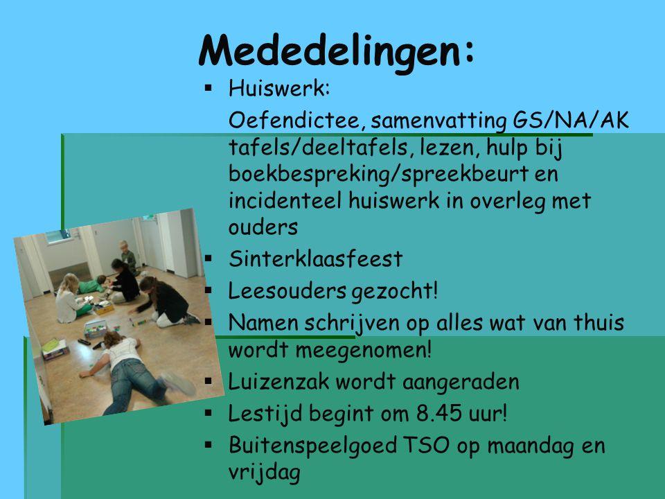 Mededelingen:   Huiswerk:   Oefendictee, samenvatting GS/NA/AK tafels/deeltafels, lezen, hulp bij boekbespreking/spreekbeurt en incidenteel huiswe