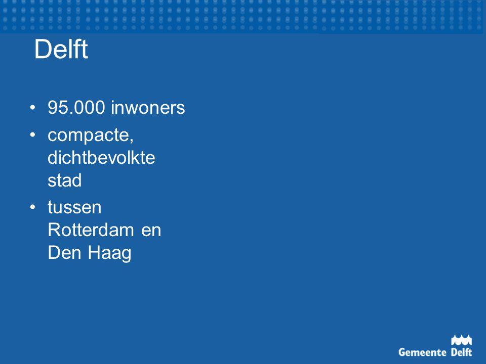 Delft 95.000 inwoners compacte, dichtbevolkte stad tussen Rotterdam en Den Haag