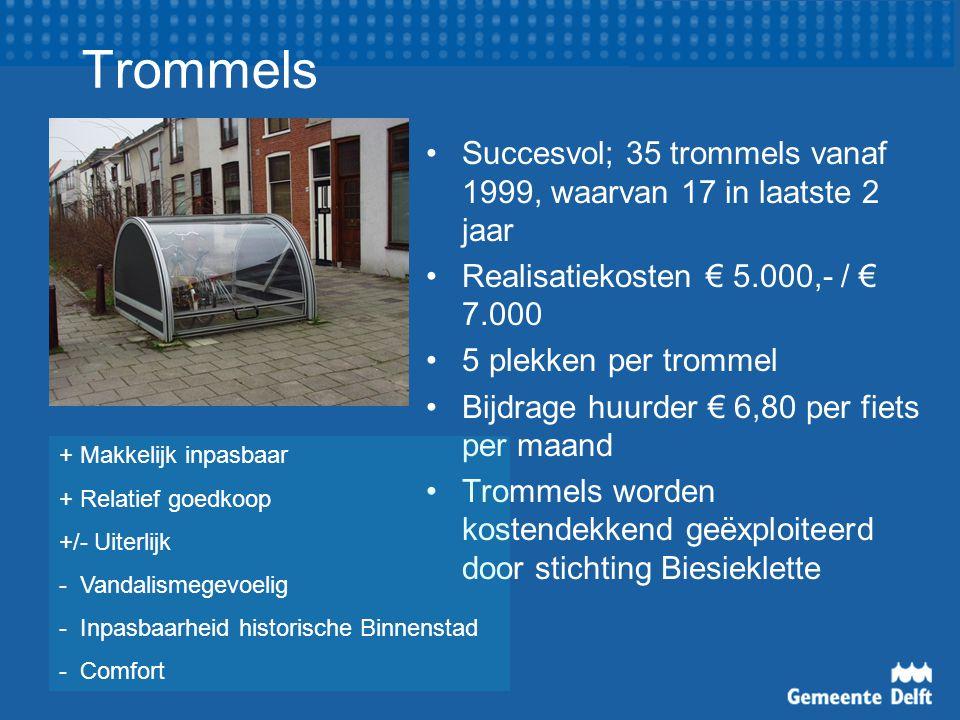 Trommels Succesvol; 35 trommels vanaf 1999, waarvan 17 in laatste 2 jaar Realisatiekosten € 5.000,- / € 7.000 5 plekken per trommel Bijdrage huurder €
