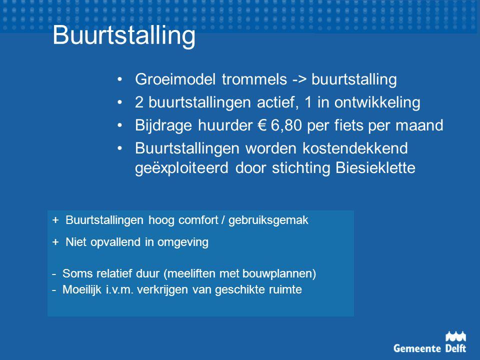 Buurtstalling Groeimodel trommels -> buurtstalling 2 buurtstallingen actief, 1 in ontwikkeling Bijdrage huurder € 6,80 per fiets per maand Buurtstalli