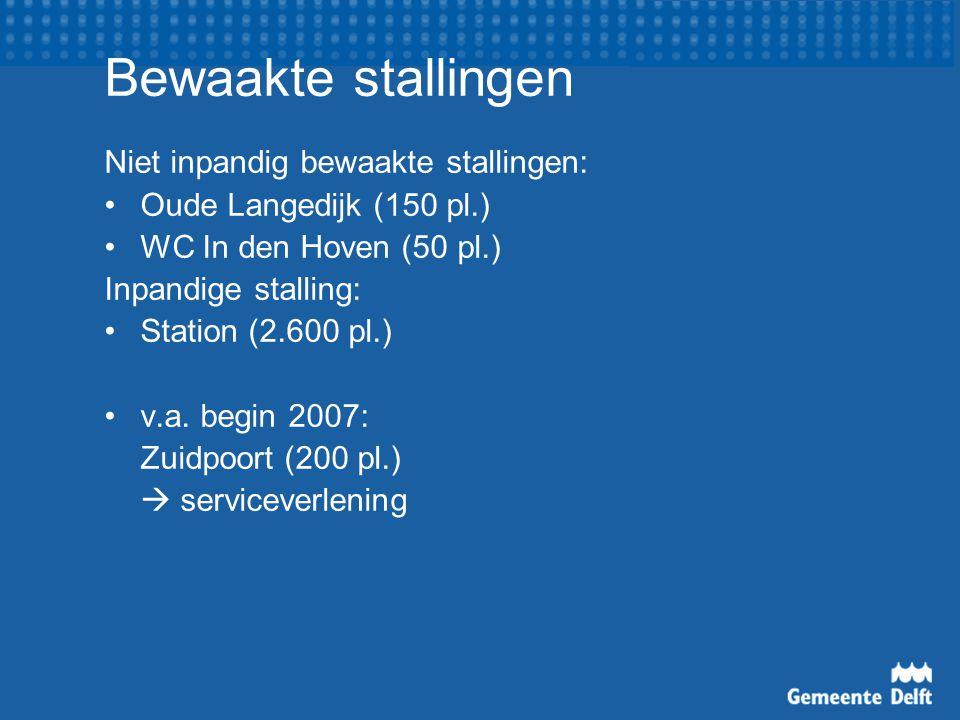 Bewaakte stallingen Niet inpandig bewaakte stallingen: Oude Langedijk (150 pl.) WC In den Hoven (50 pl.) Inpandige stalling: Station (2.600 pl.) v.a.