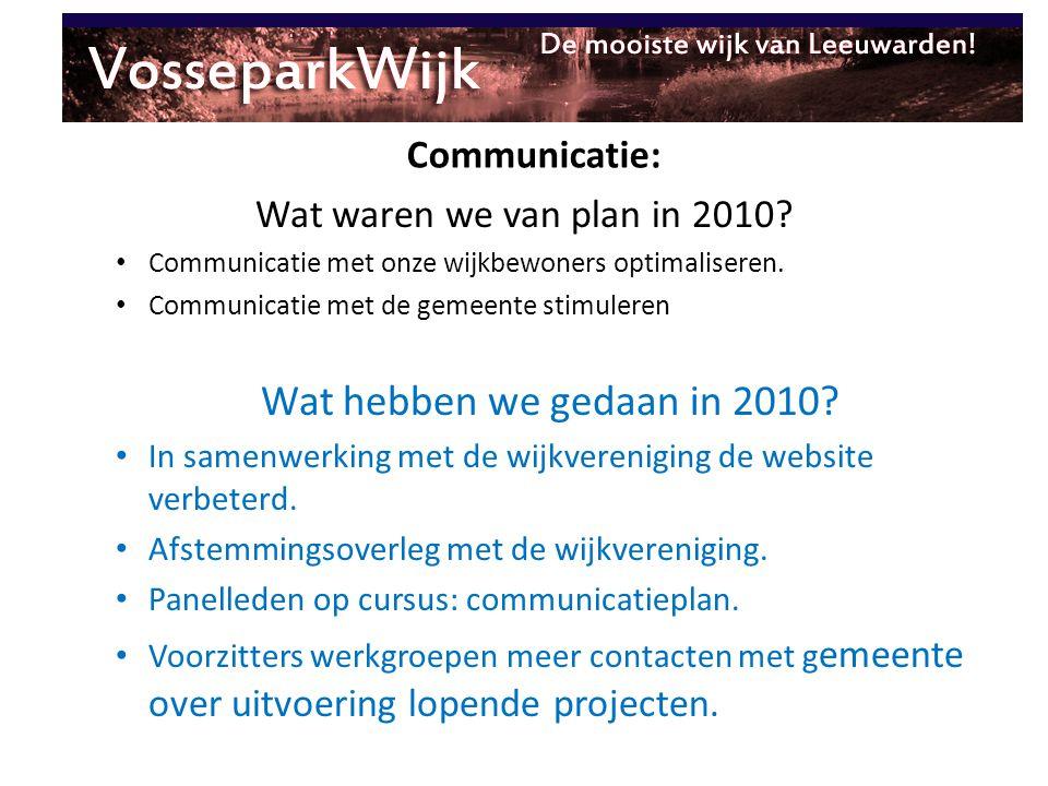 Communicatie: Wat waren we van plan in 2010? Communicatie met onze wijkbewoners optimaliseren. Communicatie met de gemeente stimuleren Wat hebben we g