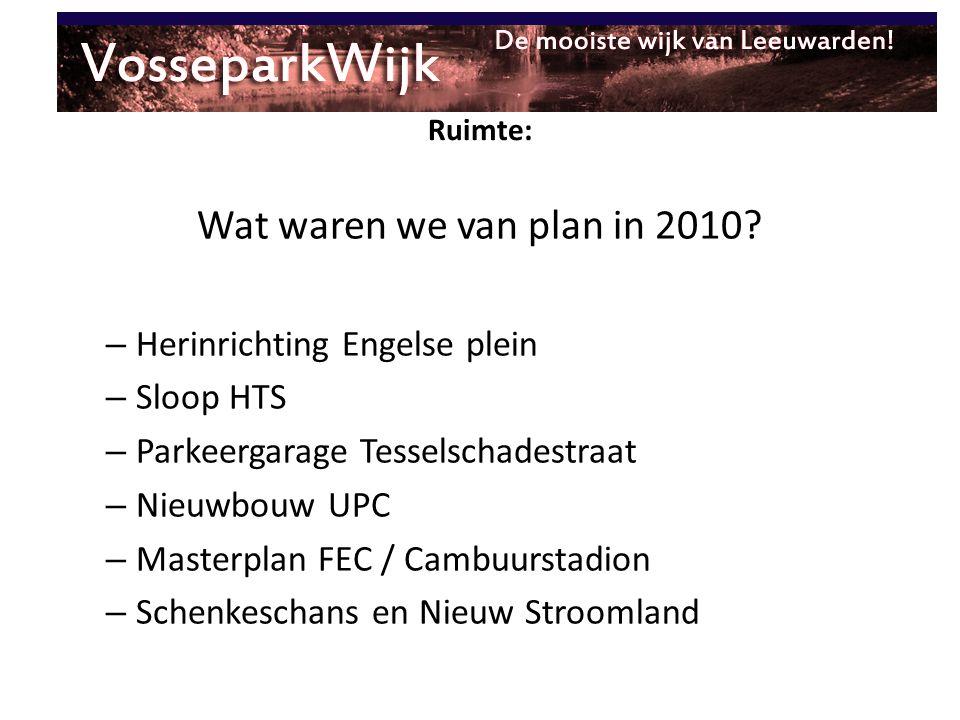 Ruimte: Wat waren we van plan in 2010? – Herinrichting Engelse plein – Sloop HTS – Parkeergarage Tesselschadestraat – Nieuwbouw UPC – Masterplan FEC /