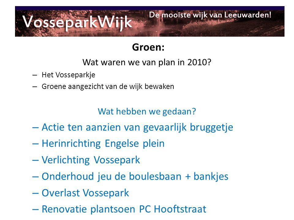 Wat waren we van plan in 2010? – Het Vosseparkje – Groene aangezicht van de wijk bewaken Wat hebben we gedaan? – Actie ten aanzien van gevaarlijk brug
