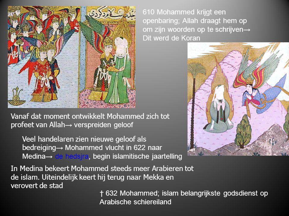 De opvolgers van Mohammed, kaliefen genoemd, verspreiden islam verder Islamitische wereld geen eenheid → verschillende stromingen en verschillende rijken, kalifaten, waar het bestuur vaak generaties binnen één familie bleef