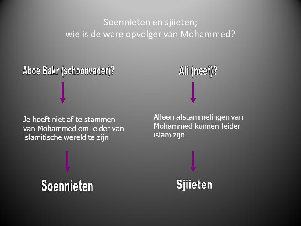 Soennieten en sjiieten; wie is de ware opvolger van Mohammed? Je hoeft niet af te stammen van Mohammed om leider van islamitische wereld te zijn Allee