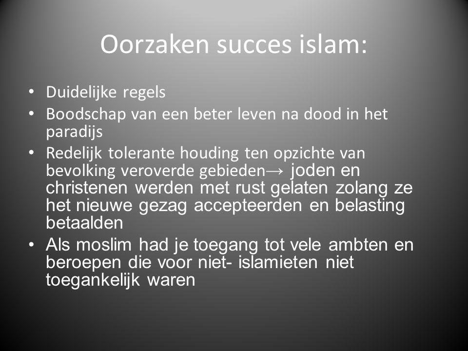 Oorzaken succes islam: Duidelijke regels Boodschap van een beter leven na dood in het paradijs Redelijk tolerante houding ten opzichte van bevolking v