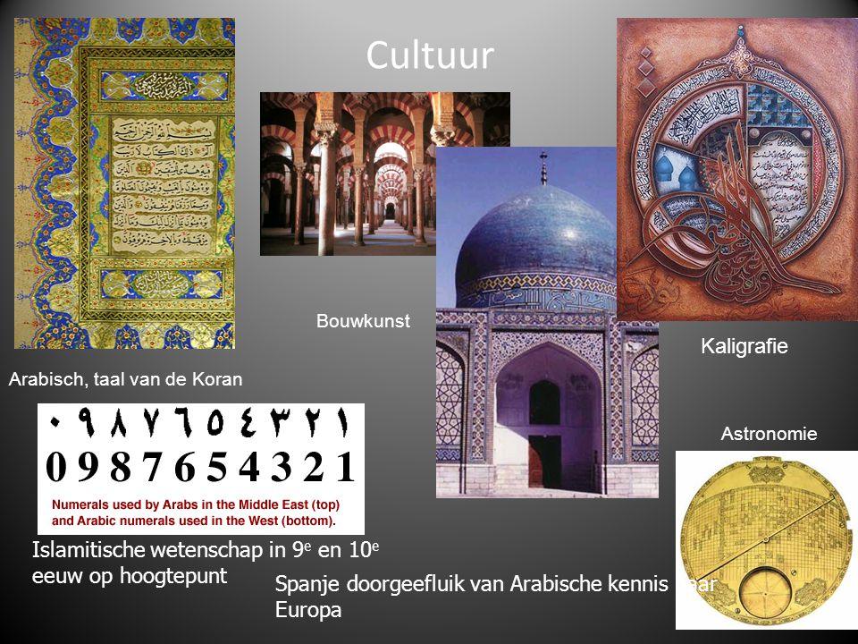 Cultuur Arabisch, taal van de Koran Bouwkunst Kaligrafie Astronomie Islamitische wetenschap in 9 e en 10 e eeuw op hoogtepunt Spanje doorgeefluik van