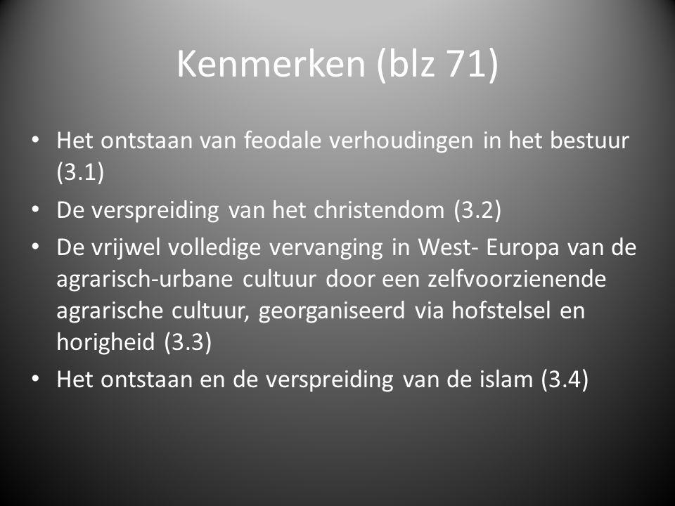 Kernbegrippen (blz 71) Agrarisch- urbaan Aurtarkie/ zelfvoorziening Feodalisme Hofstelsel Horigen/ horigheid Islam