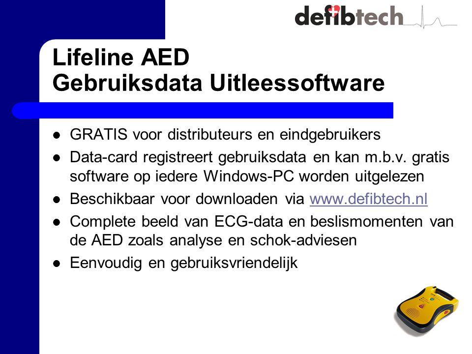 Lifeline AED Gebruiksdata Uitleessoftware GRATIS voor distributeurs en eindgebruikers Data-card registreert gebruiksdata en kan m.b.v. gratis software