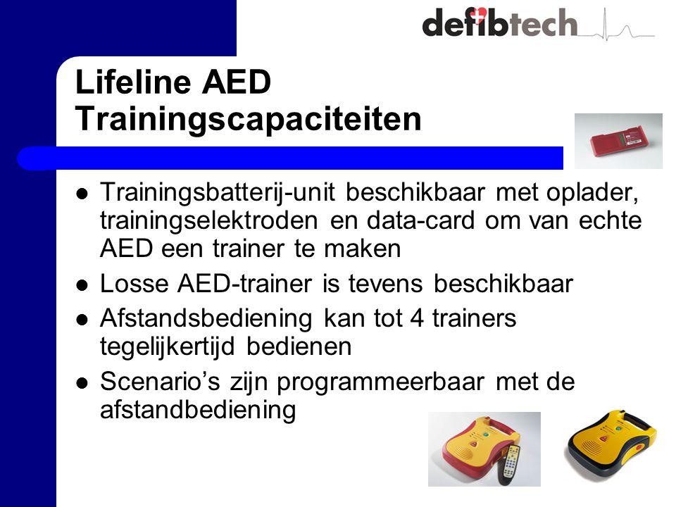 Lifeline AED Trainingscapaciteiten Trainingsbatterij-unit beschikbaar met oplader, trainingselektroden en data-card om van echte AED een trainer te maken Losse AED-trainer is tevens beschikbaar Afstandsbediening kan tot 4 trainers tegelijkertijd bedienen Scenario's zijn programmeerbaar met de afstandbediening