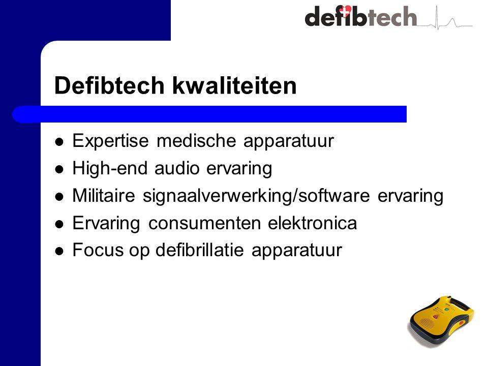 Defibtech kwaliteiten Expertise medische apparatuur High-end audio ervaring Militaire signaalverwerking/software ervaring Ervaring consumenten elektronica Focus op defibrillatie apparatuur