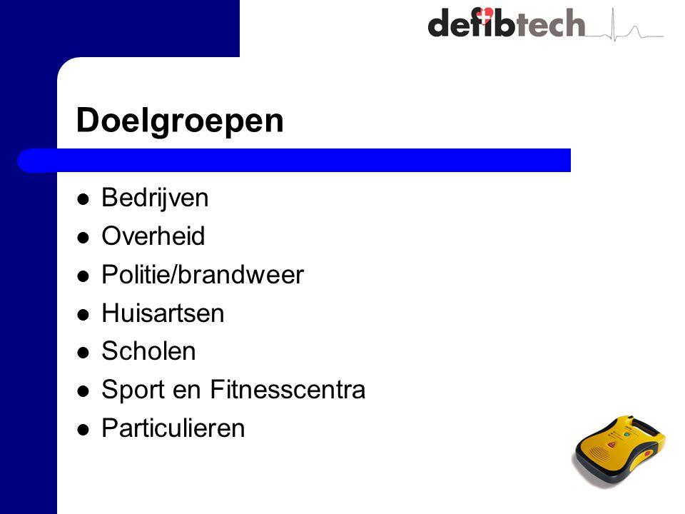 Doelgroepen Bedrijven Overheid Politie/brandweer Huisartsen Scholen Sport en Fitnesscentra Particulieren