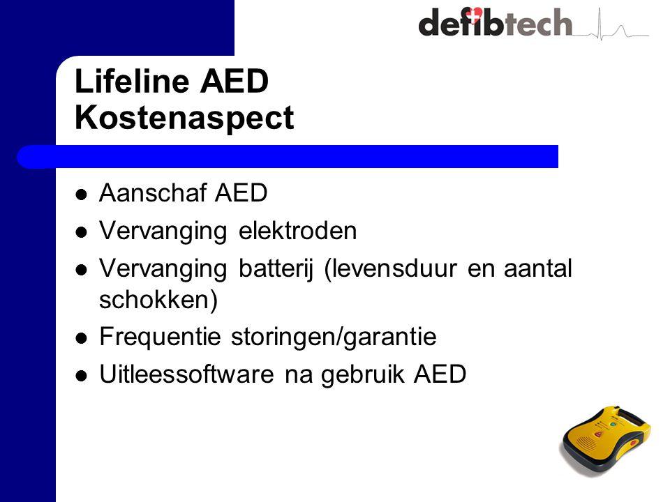 Lifeline AED Kostenaspect Aanschaf AED Vervanging elektroden Vervanging batterij (levensduur en aantal schokken) Frequentie storingen/garantie Uitleessoftware na gebruik AED