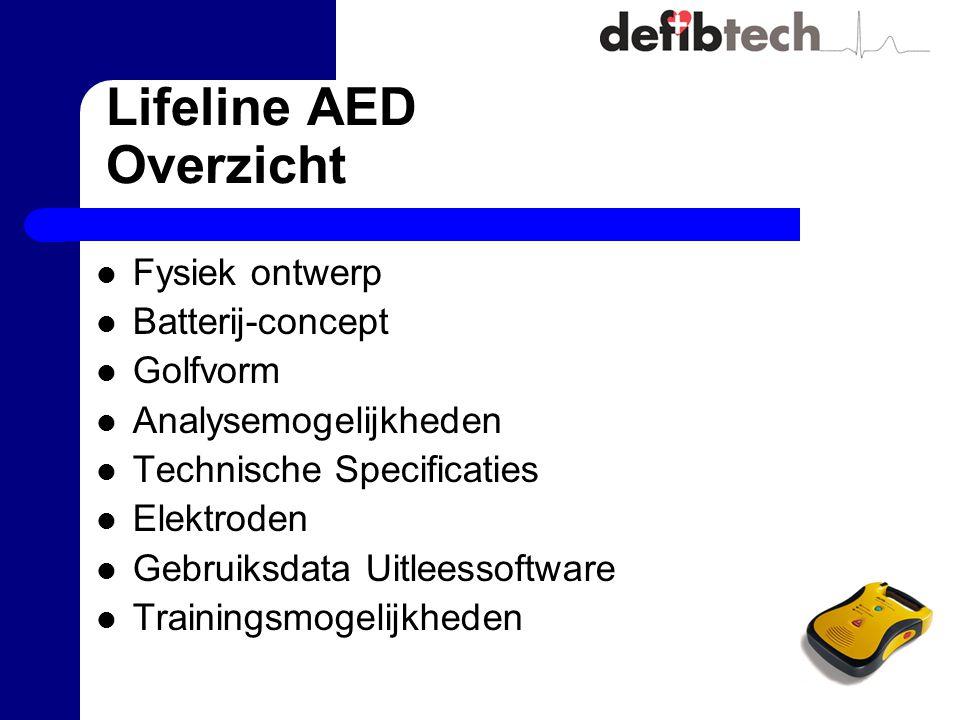 Lifeline AED Overzicht Fysiek ontwerp Batterij-concept Golfvorm Analysemogelijkheden Technische Specificaties Elektroden Gebruiksdata Uitleessoftware