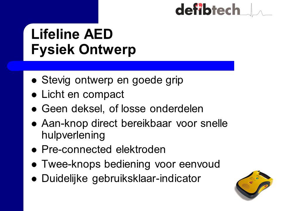 Lifeline AED Fysiek Ontwerp Stevig ontwerp en goede grip Licht en compact Geen deksel, of losse onderdelen Aan-knop direct bereikbaar voor snelle hulp