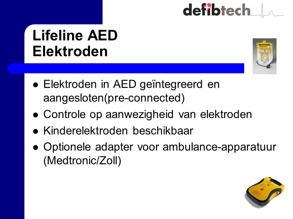 Lifeline AED Elektroden Elektroden in AED geïntegreerd en aangesloten(pre-connected) Controle op aanwezigheid van elektroden Kinderelektroden beschikbaar Optionele adapter voor ambulance-apparatuur (Medtronic/Zoll)