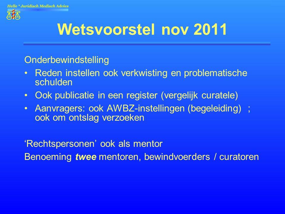 Wetsvoorstel nov 2011 Onderbewindstelling Reden instellen ook verkwisting en problematische schulden Ook publicatie in een register (vergelijk curatel
