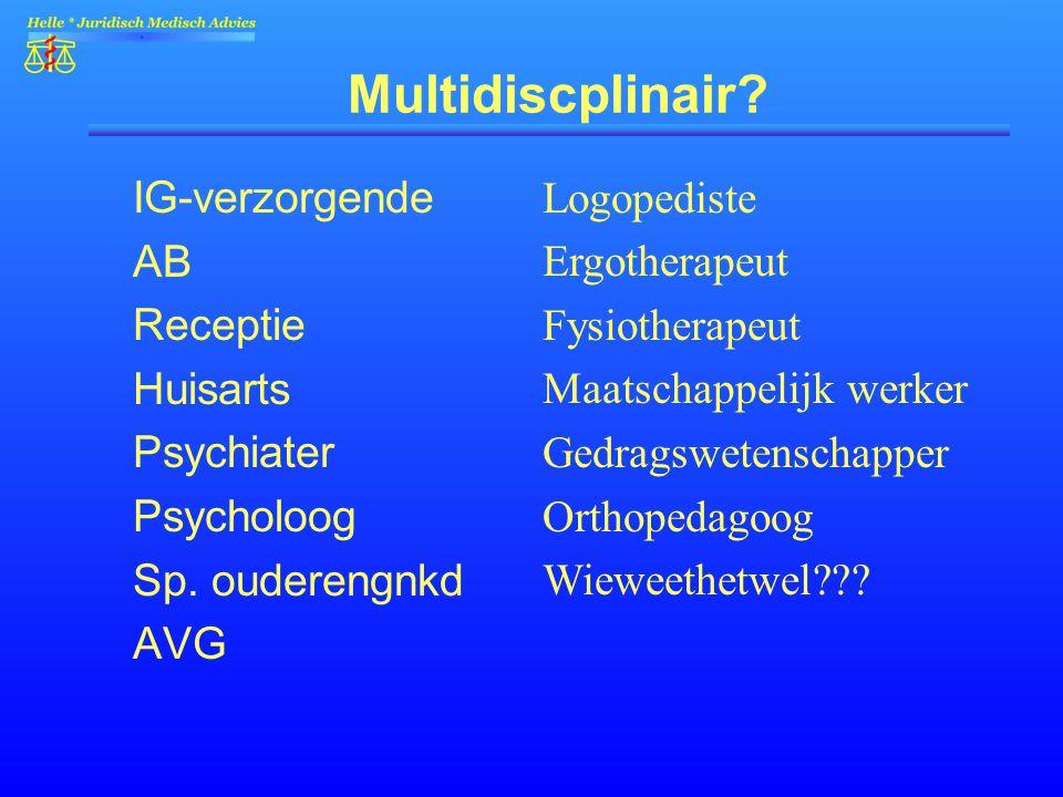 Multidiscplinair? IG-verzorgende AB Receptie Huisarts Psychiater Psycholoog Sp. ouderengnkd AVG Logopediste Ergotherapeut Fysiotherapeut Maatschappeli
