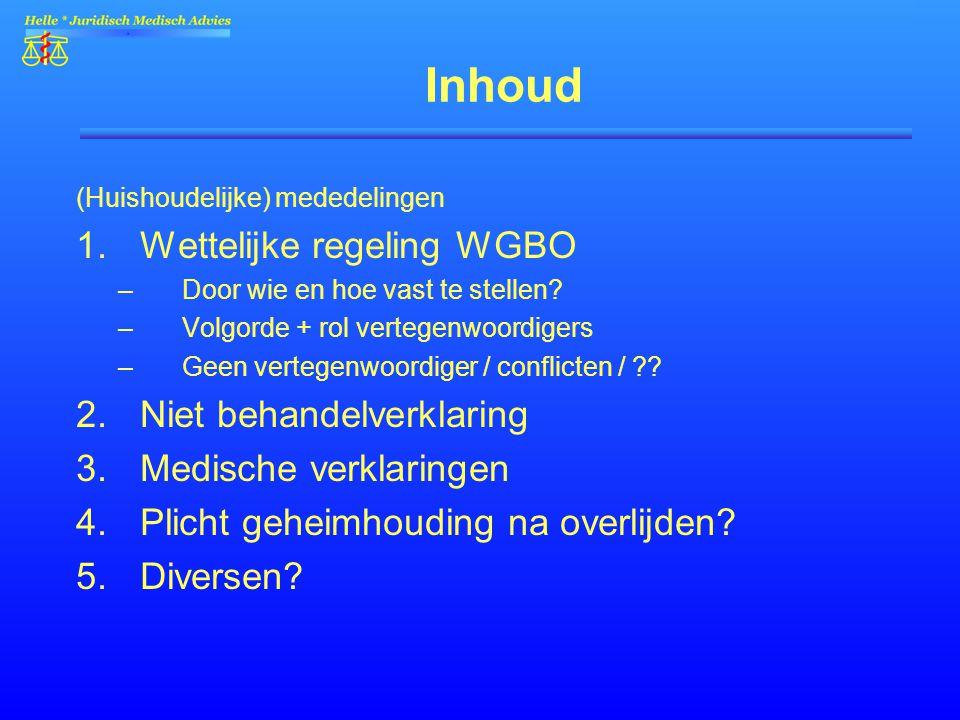 Inhoud (Huishoudelijke) mededelingen 1.Wettelijke regeling WGBO –Door wie en hoe vast te stellen? –Volgorde + rol vertegenwoordigers –Geen vertegenwoo