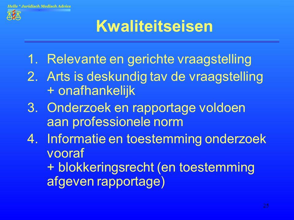 25 Kwaliteitseisen 1.Relevante en gerichte vraagstelling 2.Arts is deskundig tav de vraagstelling + onafhankelijk 3.Onderzoek en rapportage voldoen aa