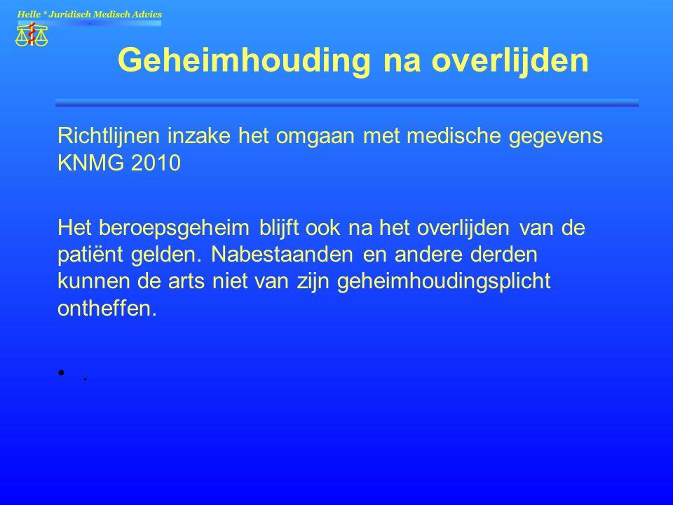 Geheimhouding na overlijden Richtlijnen inzake het omgaan met medische gegevens KNMG 2010 Het beroepsgeheim blijft ook na het overlijden van de patiën