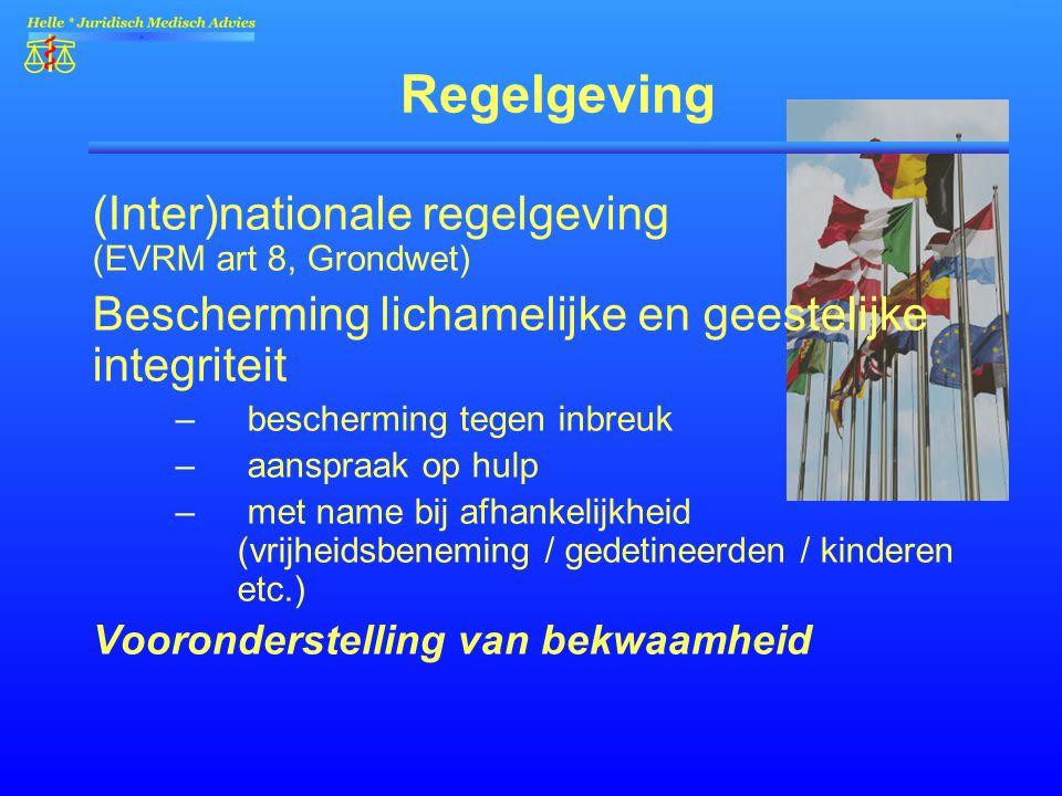 Regelgeving (Inter)nationale regelgeving (EVRM art 8, Grondwet) Bescherming lichamelijke en geestelijke integriteit – bescherming tegen inbreuk – aans
