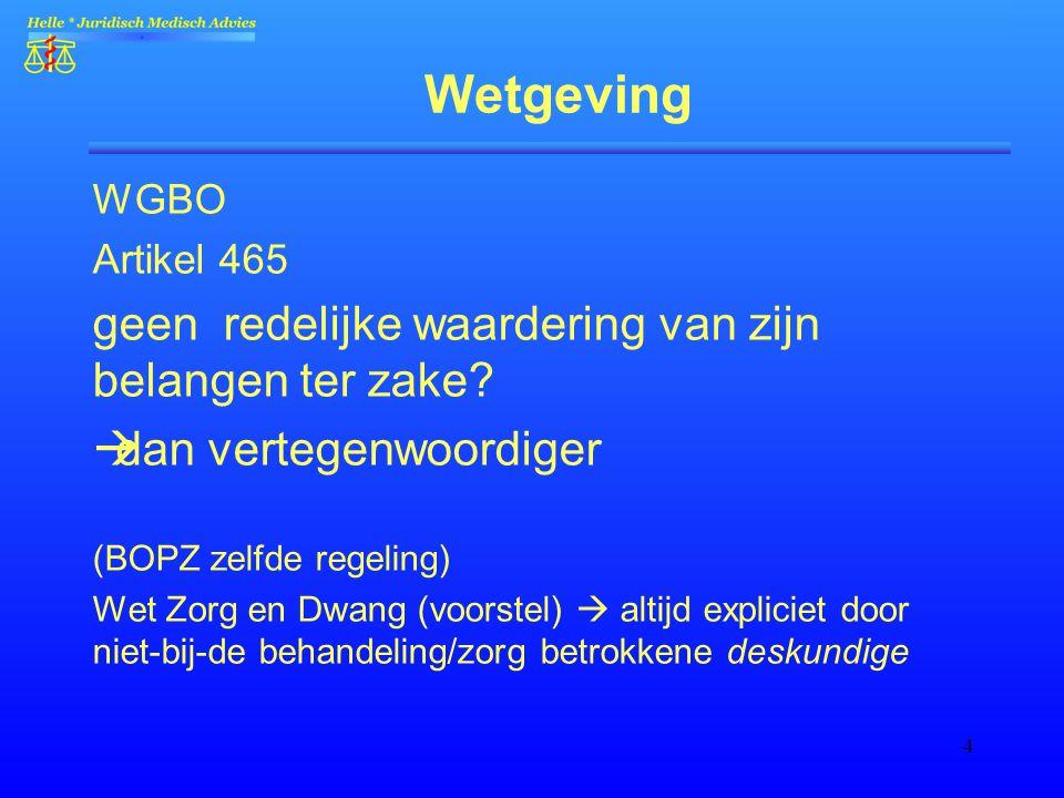 4 Wetgeving WGBO Artikel 465 geen redelijke waardering van zijn belangen ter zake?  dan vertegenwoordiger (BOPZ zelfde regeling) Wet Zorg en Dwang (v
