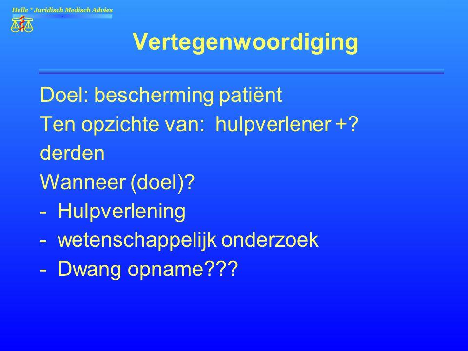 Vertegenwoordiging Doel: bescherming patiënt Ten opzichte van: hulpverlener +? derden Wanneer (doel)? -Hulpverlening -wetenschappelijk onderzoek -Dwan