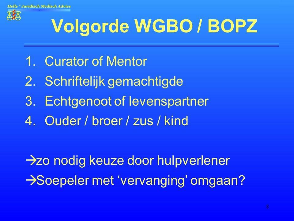 8 Volgorde WGBO / BOPZ 1.Curator of Mentor 2.Schriftelijk gemachtigde 3.Echtgenoot of levenspartner 4.Ouder / broer / zus / kind  zo nodig keuze door