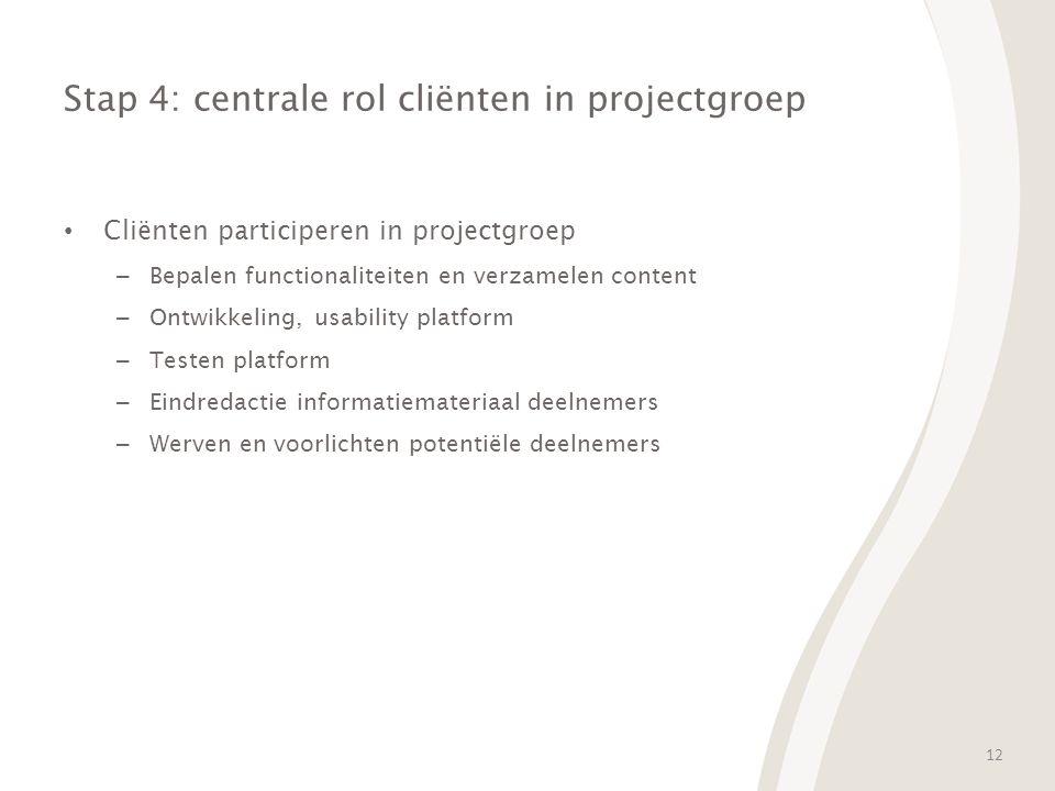 12 Stap 4: centrale rol cliënten in projectgroep Cliënten participeren in projectgroep – Bepalen functionaliteiten en verzamelen content – Ontwikkeling, usability platform – Testen platform – Eindredactie informatiemateriaal deelnemers – Werven en voorlichten potentiële deelnemers
