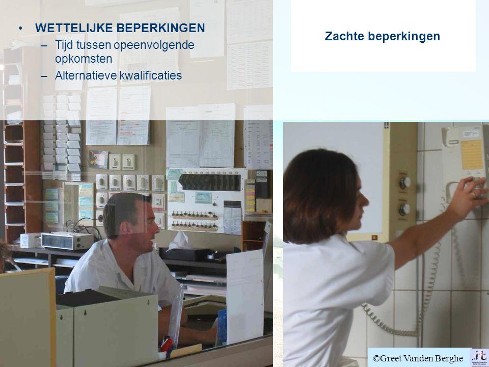 Zachte beperkingen WETTELIJKE BEPERKINGEN –Tijd tussen opeenvolgende opkomsten –Alternatieve kwalificaties ©Greet Vanden Berghe