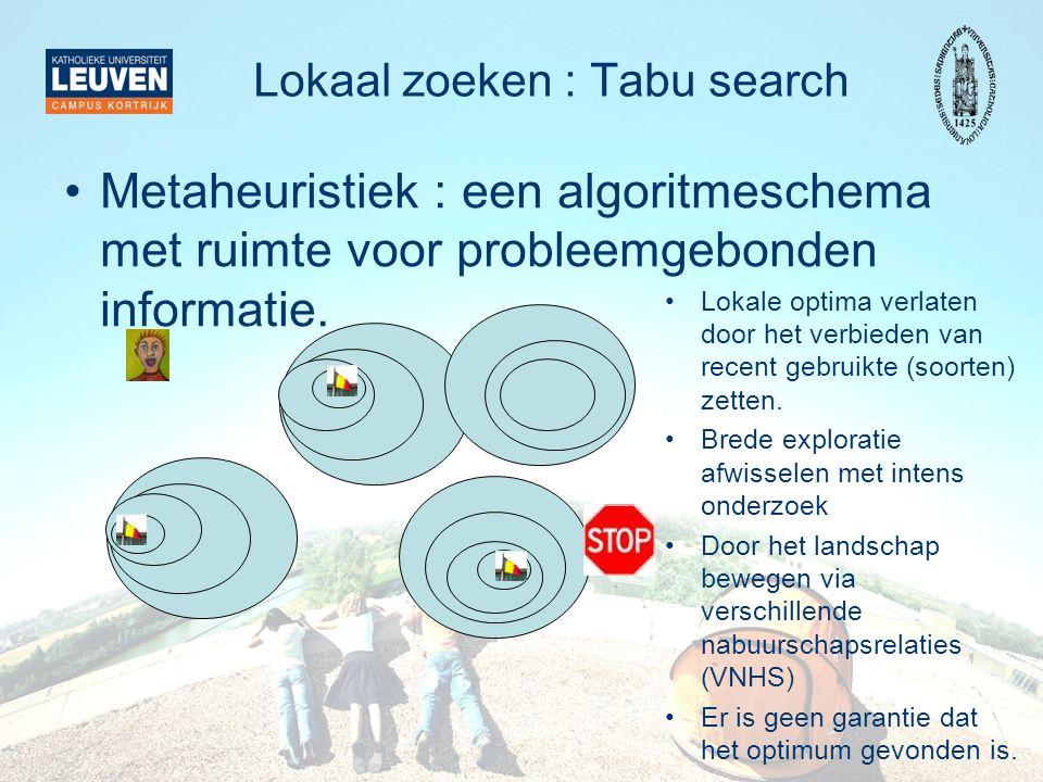 Lokaal zoeken : Tabu search Metaheuristiek : een algoritmeschema met ruimte voor probleemgebonden informatie. Lokale optima verlaten door het verbiede