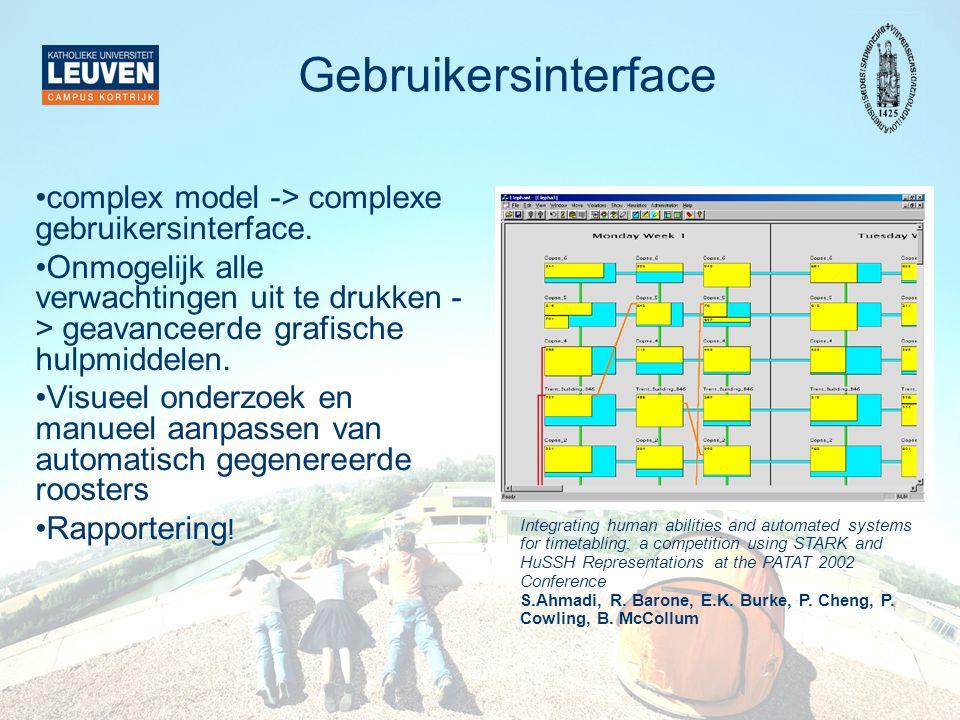 Gebruikersinterface complex model -> complexe gebruikersinterface. Onmogelijk alle verwachtingen uit te drukken - > geavanceerde grafische hulpmiddele