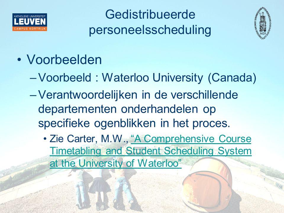 Gedistribueerde personeelsscheduling Voorbeelden –Voorbeeld : Waterloo University (Canada) –Verantwoordelijken in de verschillende departementen onderhandelen op specifieke ogenblikken in het proces.