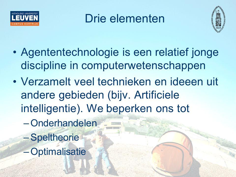 Drie elementen Agententechnologie is een relatief jonge discipline in computerwetenschappen Verzamelt veel technieken en ideeen uit andere gebieden (bijv.